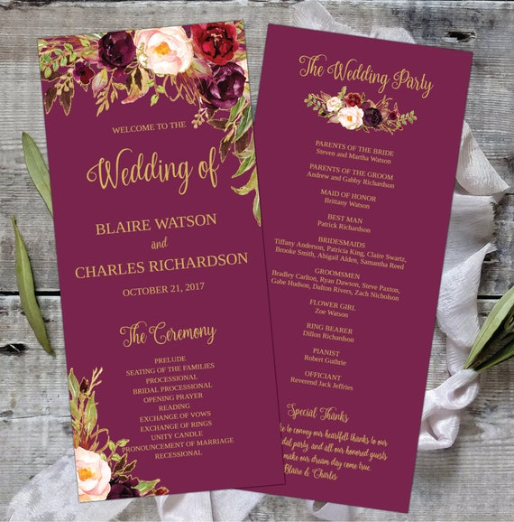 wedding program template printable editable floral watercolor