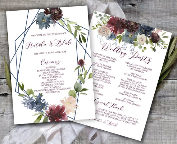 Printable Wedding Program Marsala Navy Gold Wedding Program