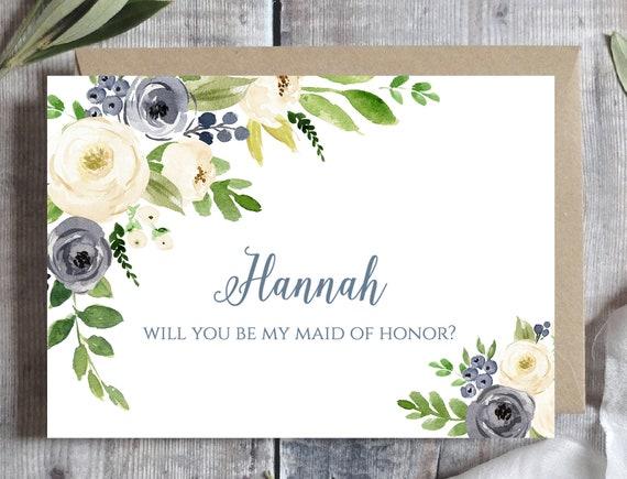 Bridesmaid Proposal Card Template Will You Be My Bridesmaid