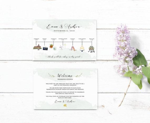 Wedding Timeline Printable Editable Timeline Rustic Wedding