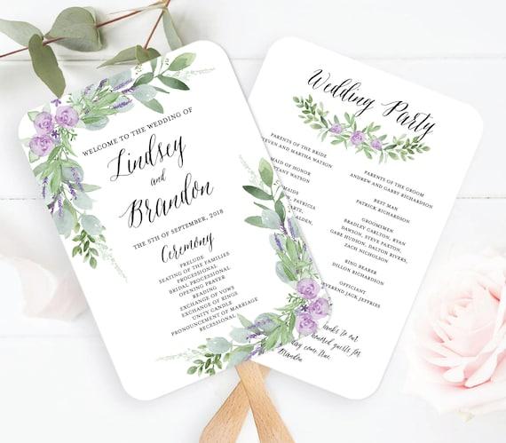 wedding program fan template greenery wedding program fan printable