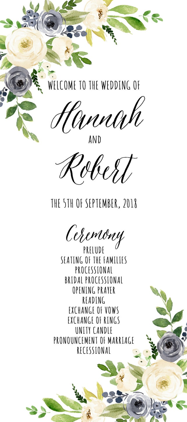 PRINTABLE Wedding Program 4x9 Template Dusty Blue Rustic