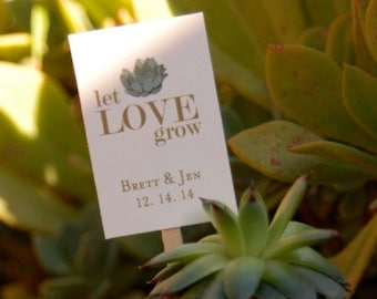 Let Love Grow Plant Stakes. Succulent Wedding Favors. Succulent Plant Stakes.