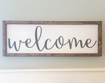 Welcome Sign / Painted Wood Sign / Wood Sign / Welcome / Home Decor (Approx 8.5 in x 24 in)