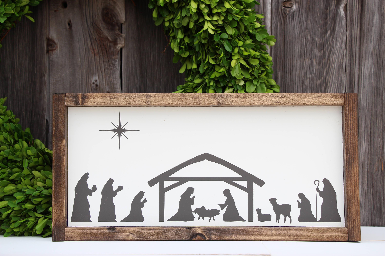 Nativity Sign Nativity Decor Painted Nativity Sign