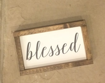 Blessed sign, Wood sign, painted wood sign, Small wood sign, Gallery wall sign, Gallery wall, Inspirational wood sign, Housewarming gift