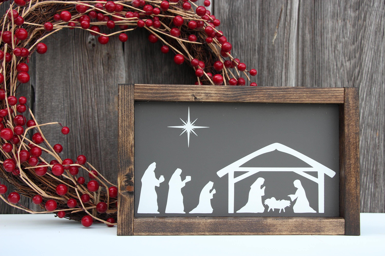 Nativity wood sign Nativity scene Nativity decor Painted