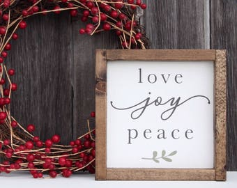 Love joy peace sign, Holiday wood sign, Christmas wood sign, Holiday decor, Christmas decor, Mantel decor, Holiday mantel decor, Wood sign