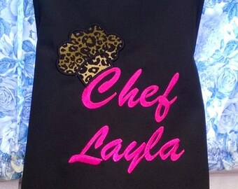 Personalized Kids Apron Child Apron Chef Hat Monogrammed Birthday Gift