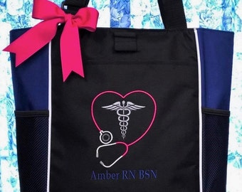 Personalized Nurses Tote Bag Stethoscope and Medical Caduceus