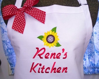 Personalized Apron Sunflowers Apron Womens Apron Kitchen Cooking Monogrammed Gift