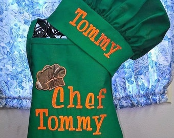 Kids Apron Set Child Apron with Chef Hat Personalized Monogrammed Gift