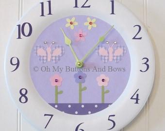 Childrenu0027s Clocks . Butterfly Theme Custom Clock . Boutique Wall Clock .  Wall Clocks . Lavender Daisy Garden . Flowers . Butterflies