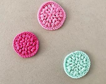 3 Abschminkpads in pink, rosa und mint
