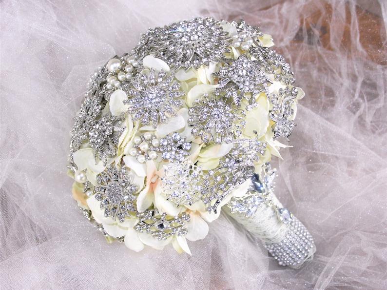 Silver Crystal Lace Wedding Bouquet Wedding Flowers Brooch Bouquet Silver Bouquet Bling Deposit only Broach Bouquet Crystal Bouquet