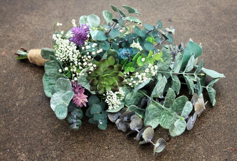Green Bouquet Purple Succulent Bouquet Rustic Boho Wedding Flowers Babys Breath Bouquet Purple Succulent Flowers Eucalyptus Bouquet
