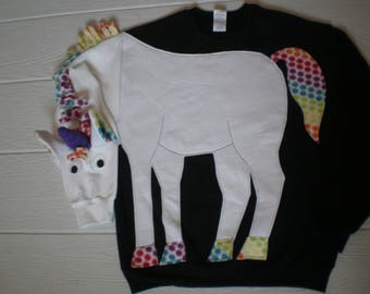 Unicorn sweatshirt, unicorn shirt. Rainbow trim, mystical, magical, adult size small, medium, large, XL, puppet sleeve