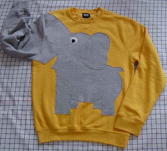 Elephant Sweatshirt, Yellow elephant trunk sleeve sweatshirt, elephant sweater, elephant jumper. Adult sizes, unisex sweatshirt, puppet