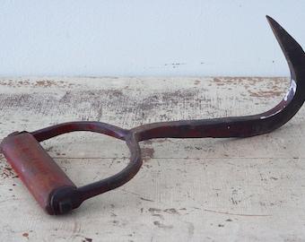 Antique Rustic Red Hay Hook Farm Tool - Farmhouse Decor