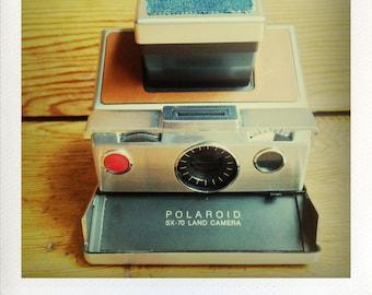 Polaroid SX-70 Land Camera W/ Blue Jean Covering - Guaranteed Working