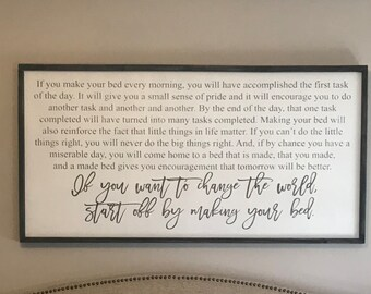If you want to change the world, start off by making your bed, motivational sign, wood sign, kids room decor, Admiral William H. McRaven