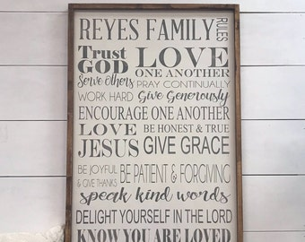 Personalized family rules, wood sign