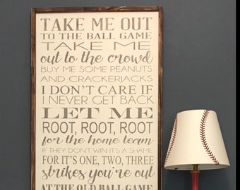 Take me out to the ballgame - wood sign - 24x36