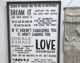 Vision, Motivation board - 24x36 wood sign