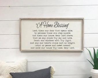A Home Blessing - 18x36 wood sign