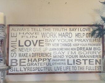 Family Rules - 24x48 wood sign - can be personalized