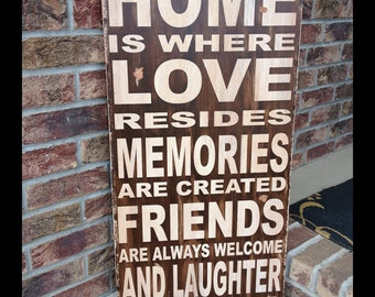 Home is where love resides - large handcrafted all wood sign - distressed vintage looking - family