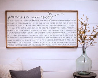 Promise yourself - wood signs - Christian D. Larson - 24x48 size