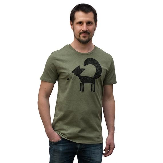 Franzi Fuchs Männer T Shirt bio in tannen grün meliert