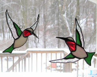 Ruby Throated Hummingbird Suncatchers set of TWO
