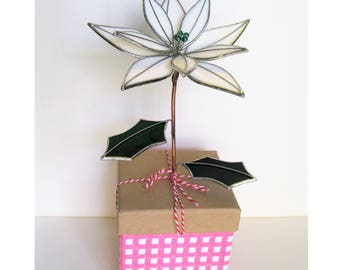 Poinsettia in Pretty Pink Gift Box- stained glass sculpture