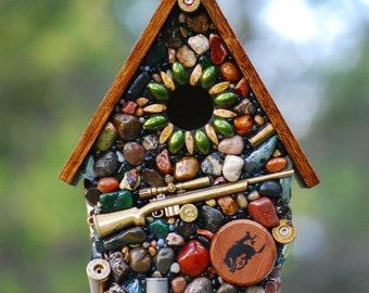 Gifts For Him, outdoor birdhouse, Recycled Bullets, mosaic Birdhouse, guns shells, Hunting theme, NorthWest, Rustic Bird house, stone house