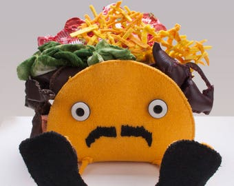 Custom Taco Plush Art Object Food with Faces Cute Funny | Beach Taco