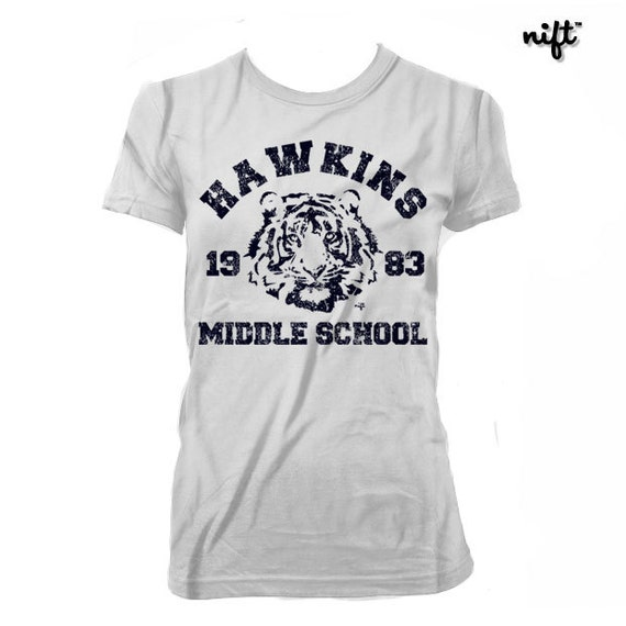 TV Show Unisex Hawkins Middle School Tigers STRANGER THINGS TRIBUTE T-SHIRT