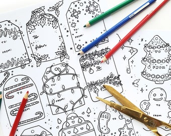 DOWNLOAD Gift Tags | Christmas Coloring Hand-drawn Illustrations Printable Instant Download Holiday Gift Tags