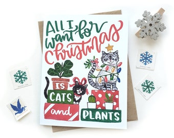 Christmas Cats and Plants Card | Crazy Cat Lady Holiday Card | Small Greeting Card Watercolor | Modern Xmas Card