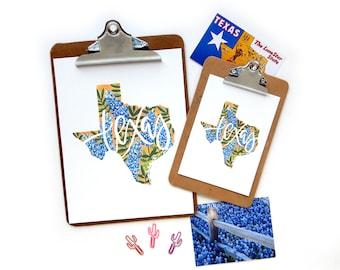 Texas Bluebonnet Hurricane Harvey Donation | Watercolor Texas Outline Lupine Bluebonnet Illustration Calligraphy Print
