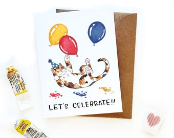 Celebrate Calico Cat Card | Birthday Card Pet to Owner | Cat Owner Birthday Card