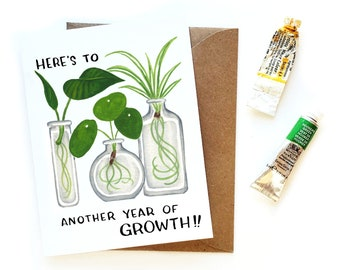 Plant Growth Birthday Card | Plant Propagation Crazy Plant Lady Birthday Card | Modern Birthday Card | Plant Lady Card | Gift Wrapped Plants