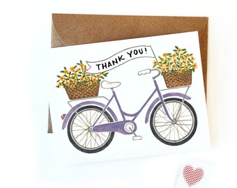 Thank You Banner Bicycle Card | Watercolor Bike Card | Simple Thank You Card