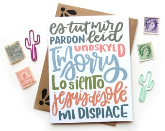 I'm Sorry Multi Language Card | Original Calligraphy Brush Lettering Apology Lo Siento Italian French Spanish A2 Card