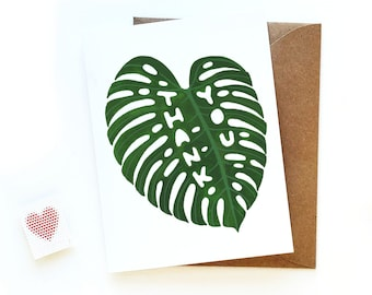 Thank You Monstera Leaf Card | Watercolor Monstera Leaf Card | Unique Plant Lady Thank You