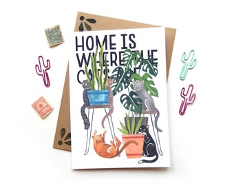 Home is Where the Cats Are Quote Houseplants Watercolor Card | Original Potted Cacti Quote Watercolor Illustrated Card