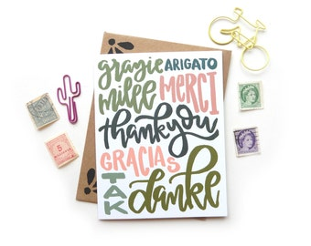 Thank You Multi Language Card | Original Calligraphy Brush Lettering Grazie Mille Merci Danke Italian French Spanish A2 Card