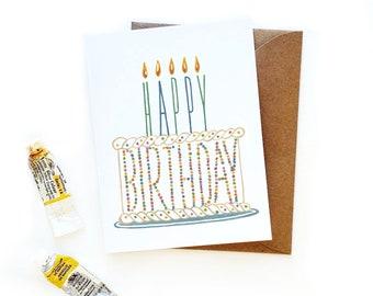Birthday Sprinkle Cake Card | Watercolor Illustration Cake Card