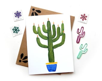 Saguaro Cactus Menorah Card | Modern Hanukkah | Handpainted Watercolor Chanukah Illustrated Card A2 Wholesale